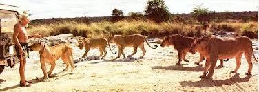 George Adamson with friends at Kora Camp