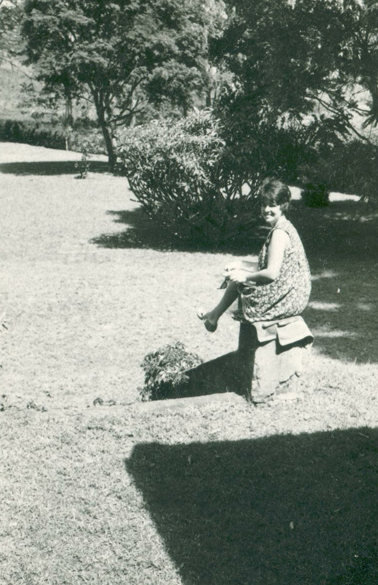 Donanne in the garden of the plantation house on Rosslyn Lone Tree Estate