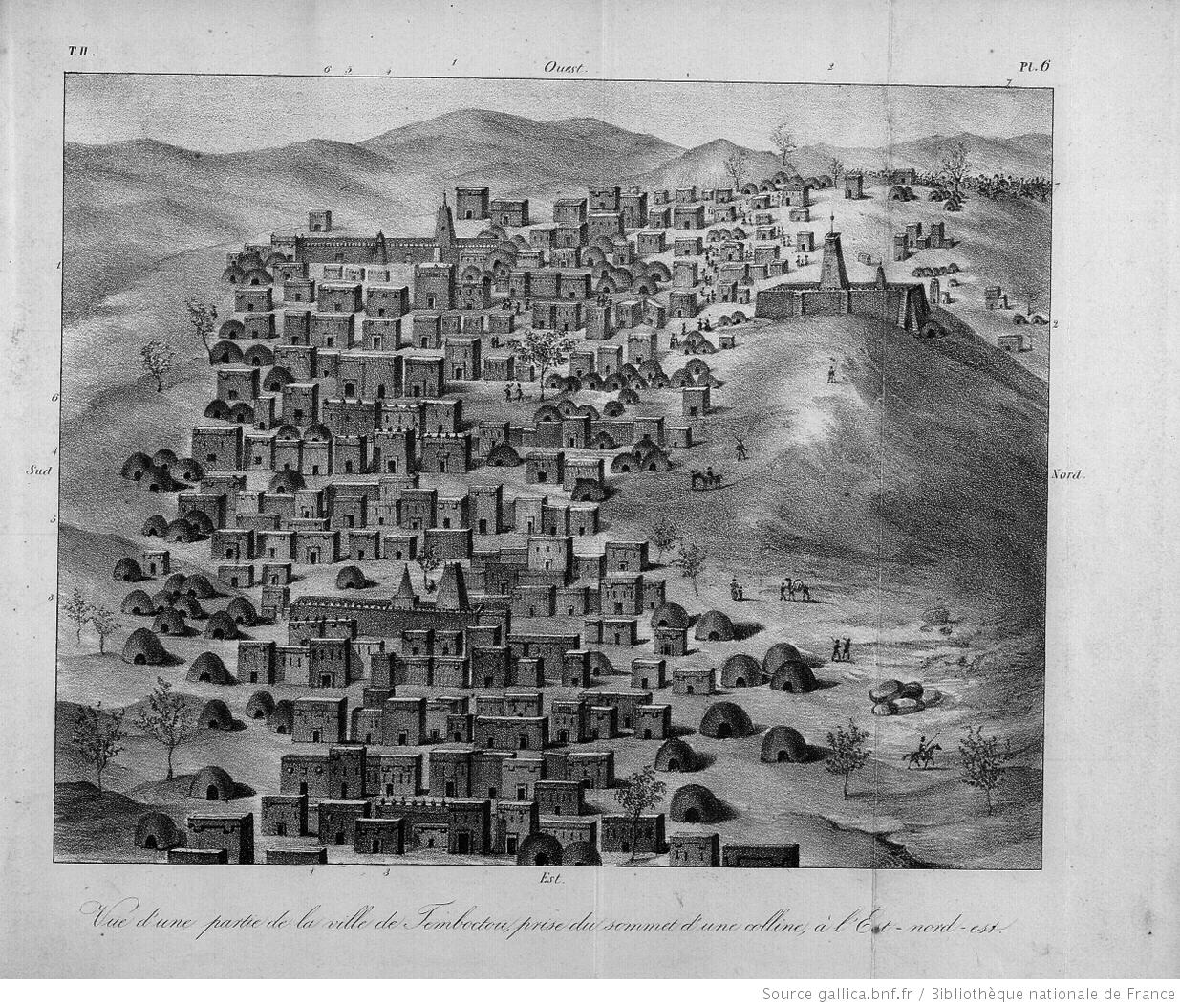 Caillie's drawing of Timbuktu as it looked to him in 1827.
