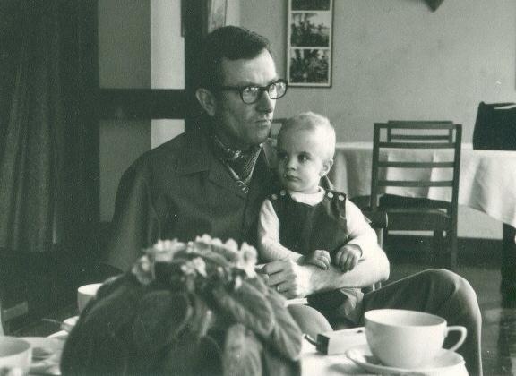 Father and son, a photo taken at the home of Joy Adamson at Lake Naivasha