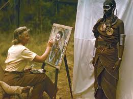 Joy Adamson painting one of many pportraits of Kenyans in ribal regalia
